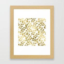 Gold Leaves on White Framed Art Print