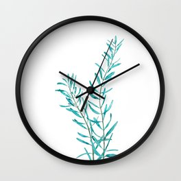 green olive leaf watercolor Wall Clock