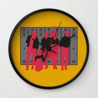 breakfast club Wall Clocks featuring The Breakfast Club by FilmsQuiz