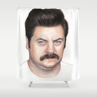 ron swanson Shower Curtains featuring Ron Swanson by Olechka