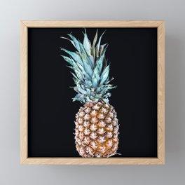 Pineapple On A Black Background #decor #society6 Framed Mini Art Print
