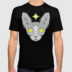 Sphynx Cat Black Pattern Black Mens Fitted Tee SMALL