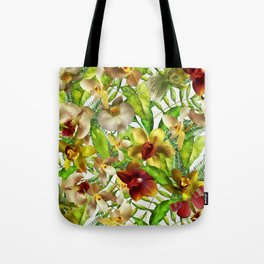 My tropical Orchid Garden- Jungle Pattern Tote Bag
