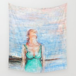 Relax abstract woman oil on canvas Wall Tapestry