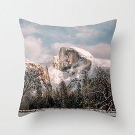 Yosemite Snow Capped Half Dome Throw Pillow