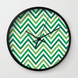 Saint Patricks Day Green Chevron Pattern Wall Clock