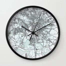 Leipzig, Germany, White, City, Map Wall Clock