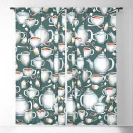 Tea Love Print, Cup of Tea, Tea Set, Hand-Painted, Vintage, Cream and Sugar, Cozy Tea Time Blackout Curtain
