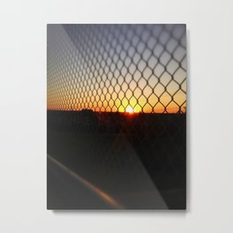 Sunset over the Fence Metal Print