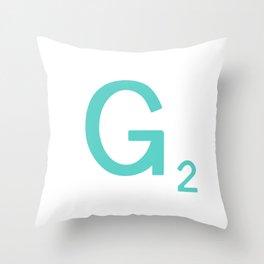 Aqua Letter G Custom Scrabble Throw Pillow