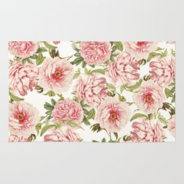 old fashioned peonies Rug