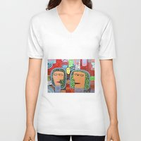 mars V-neck T-shirts featuring Mars by luisyiyo
