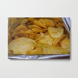 Chips in aluminum paper bag, food photography Metal Print