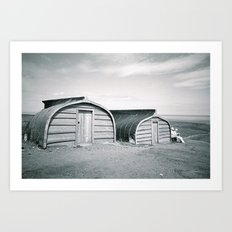 Holy Island Boat Sheds Art Print