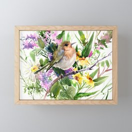 Robin and Summer Flowers Framed Mini Art Print