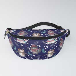 Penguin, Snail and Raccoon Christmas Fanny Pack