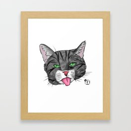 Grey Tabby Cat Face Framed Art Print