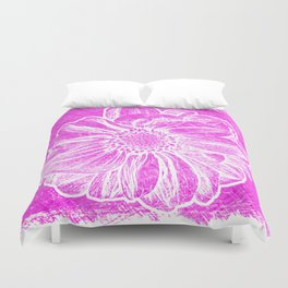 White Flower On Hot Pink Crayon Duvet Cover