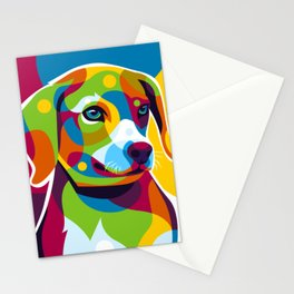 The Colorful Little Puppy Pop Art Style Stationery Cards