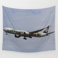 the hobbit Wall Tapestries featuring Air New Zealand Hobbit Boeing 777 by David Pyatt