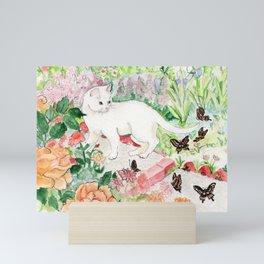 White Cat in a Garden Mini Art Print