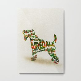 Airedale Terrier Typography Art / Watercolor Painting Metal Print