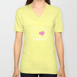 Love Kansas State Sketch USA Art Design Unisex V-Neck