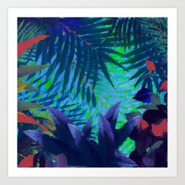 Colorful abstract palm leaves Art Print
