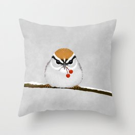 Chipping Sparrow on a Branch Throw Pillow