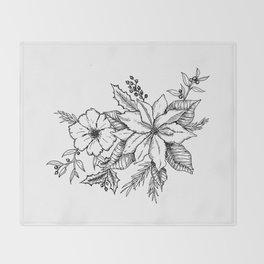 Poinsettia Florals & Winter Berries Throw Blanket