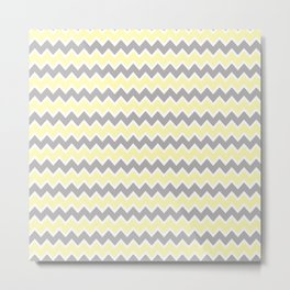 Grey Gray and Yellow Chevron Metal Print