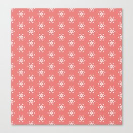 white star pattern on salmonpink color background Canvas Print