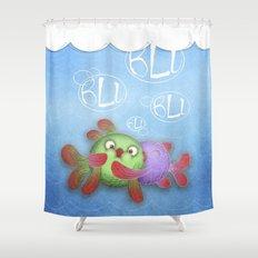 blu blu blu  Shower Curtain