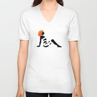 dallas V-neck T-shirts featuring Leeloo Dallas Mudflap by castlepöp