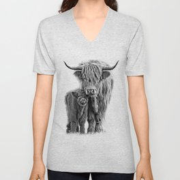 Highland Cow and The Baby Unisex V-Neck