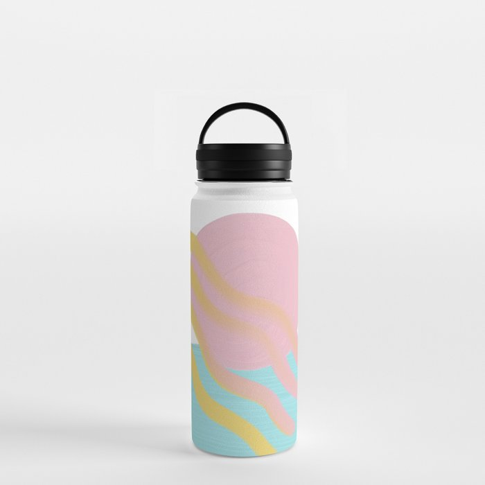 Modern graphic Sun & Sea - 90's colored style Water Bottle
