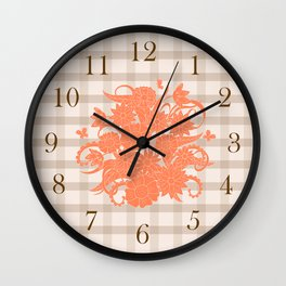 lines pattern with orange bouquet Wall Clock