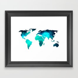 World Map Space Galaxy Stars in Turquoise Framed Art Print