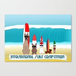 International Surf Competition Dogs Only Canvas Print