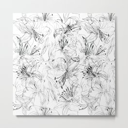 lily sketch black and white pattern Metal Print