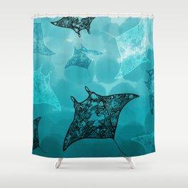 Manta frenzy Shower Curtain