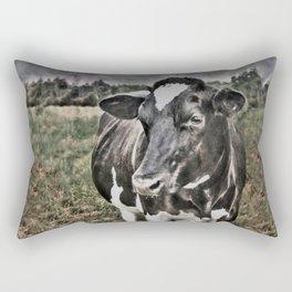 Melancholic Black White Dutch Cow Rectangular Pillow