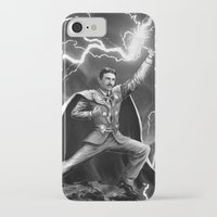 tesla iPhone & iPod Cases featuring Tesla: God of Thunder by The Cracked Dispensary