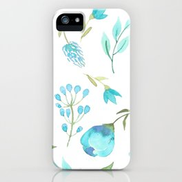 Blue watercolor flowers iPhone Case