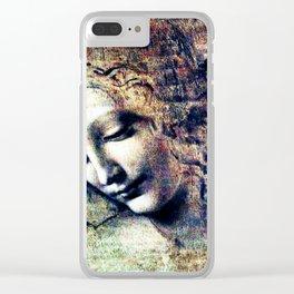 Leonardo Da Vinci Female Head Clear iPhone Case