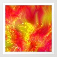 phoenix Art Prints featuring Phoenix by Paula Belle Flores