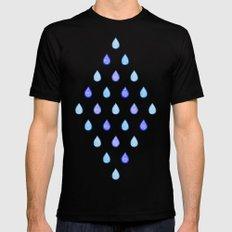 Blue raindrops MEDIUM Black Mens Fitted Tee