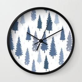 Pines and snowflakes pattern Wall Clock