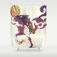 sagittarius Shower Curtains featuring Sagittarius by Cecilia M Creations