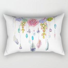 Spirit Gazer With Crystals And Succulents Rectangular Pillow